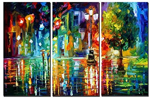 Amoy Art 3 Panels Modern Abstract Landscape Artwork Night Rainy Street Canvas Painting Print Wall Art for Home Decorations Wall Décor with Stretched Frame Ready to Hang12x24inx3pcs