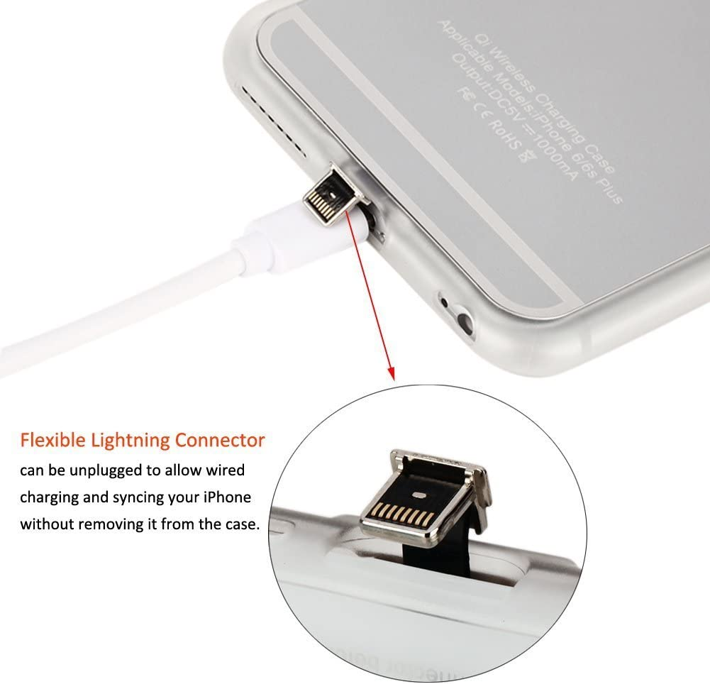Silver Qi Wireless Charging Case with Flexible Lightning Connector Wireless Receiver Case for iPhone 7 Plus and iPhone 6 s Plus