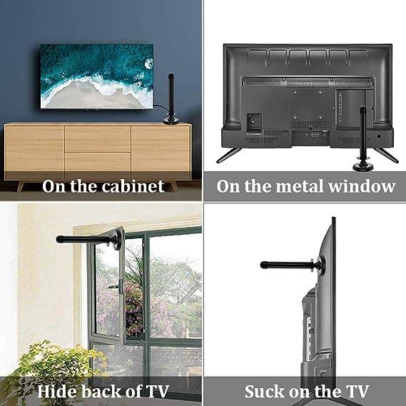 HIDB Gain 30dBi Amplified TDT HD TV interior Antena - Antena de televisión digital Freeview con base magnética, antena de TV digital amplificada, ...