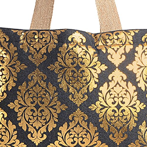 Black Shopping 5 Women Jute amp; Bag Handbags Denim Yuga Bags Designer Gold Multipurpose xPRAUwF
