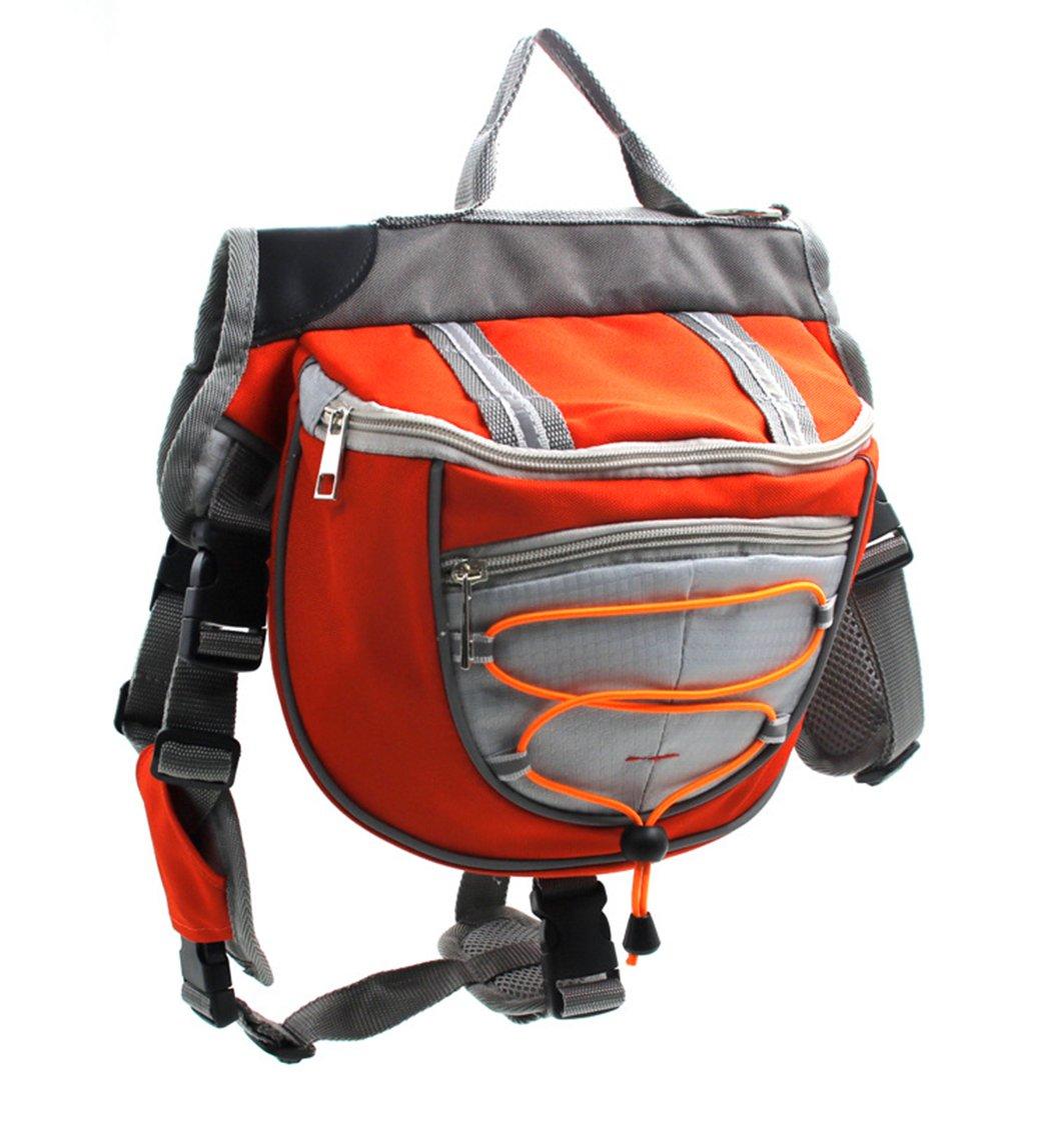 Xiaoyu mochila para perro, portabolsas ajustable, portabolsas de silla de montar, para el camping de excursionismo de viaje, naranja, L