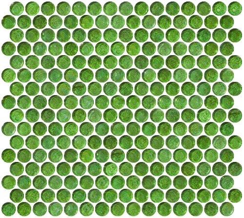 Susan Jablon Mosaics - Penny Round Green Iridescent Glass Tile