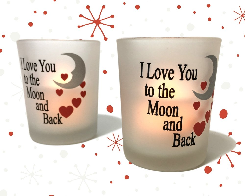 I Love You to the Moon & Back Frosted Glass Votive Holders - Red Hearts & Silver Moon - Set of 3 Assorted - Three Flameless Flickering LED Candles Included by Banberry Designs (Image #4)