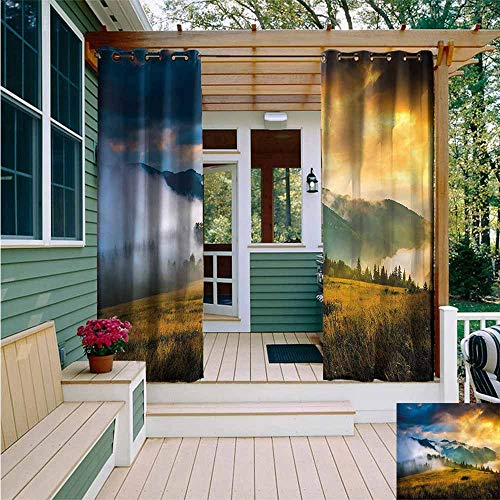 Beihai1Sun Outdoor Grommet Top Curtain Panel,Landscape Misty Mountaintops,for Patio/Front Porch,W108x84L