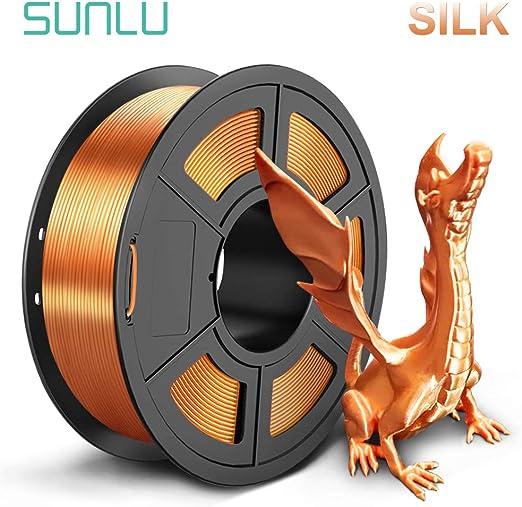 SUNLUシルクPLA3Dプリンタフィラメント1.75mm金属の質感、精度+/-0.02mm、3Dプリンター3Dペン用(1kg赤銅の色)