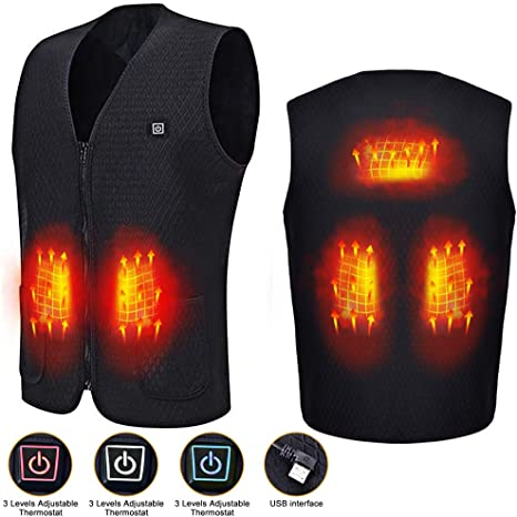 Men Women Winter Warmer Gilet with 3 files Adjustable Temperature for Outdoor Skiing,Hiking,Hunting,Motorcycle,Camping Electric vest,Electric Heated Vest,Electric Jacket with USB Charging Insert