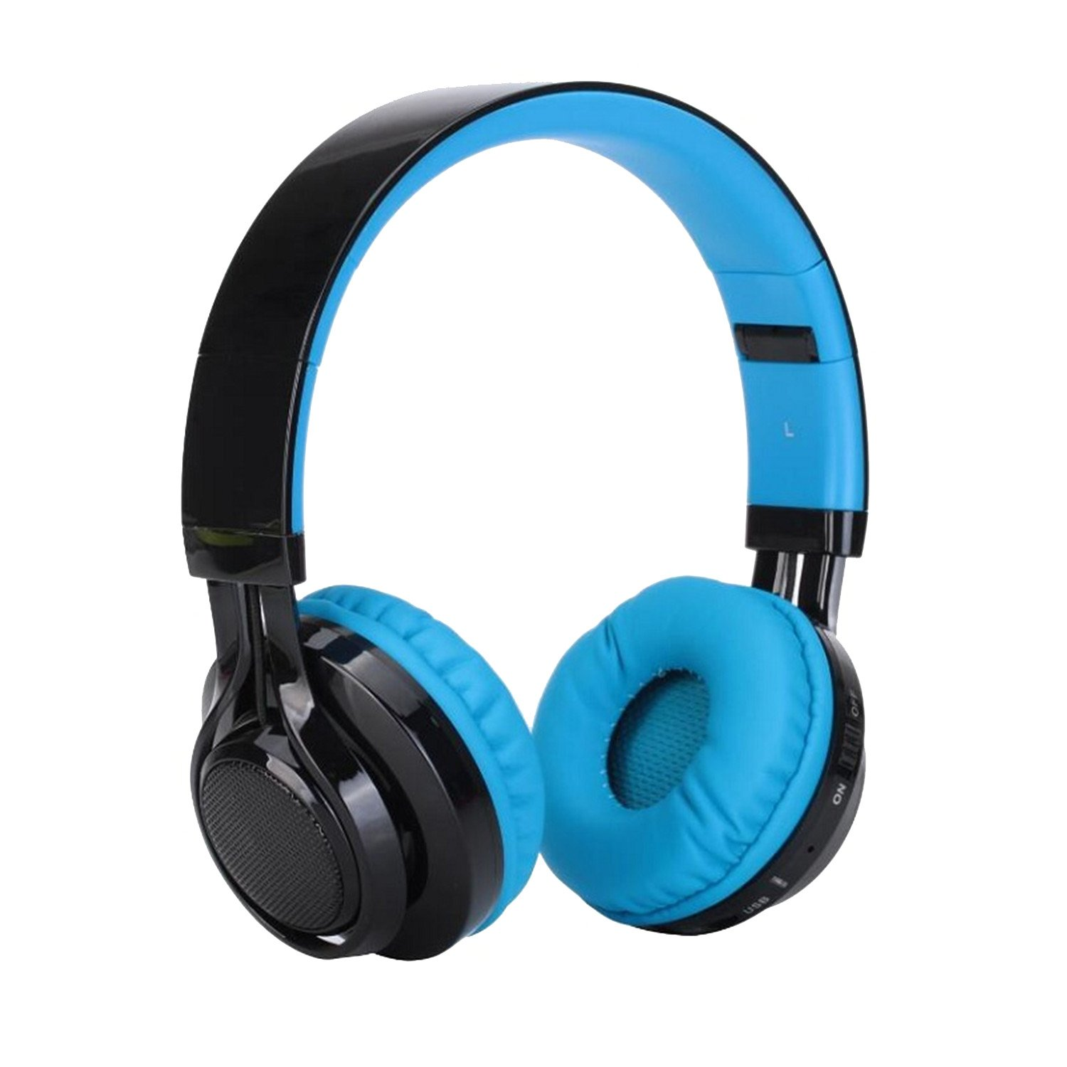 LuckyNV Super Bass Foldable LED Cordless Headphones with Micophone Sports Stereo Bluetooth Wireless Headset Blue
