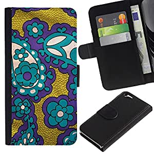 Apple (4.7 inches!!!) iPhone 6 Modelo colorido cuero carpeta tirón caso cubierta piel Holster Funda protección - Fabric Purple Gold Teal