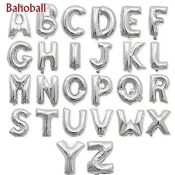weeball 1pcs silver letter balloons alphabet aluminum foil air balloon birthday party supplies grapheme advert air