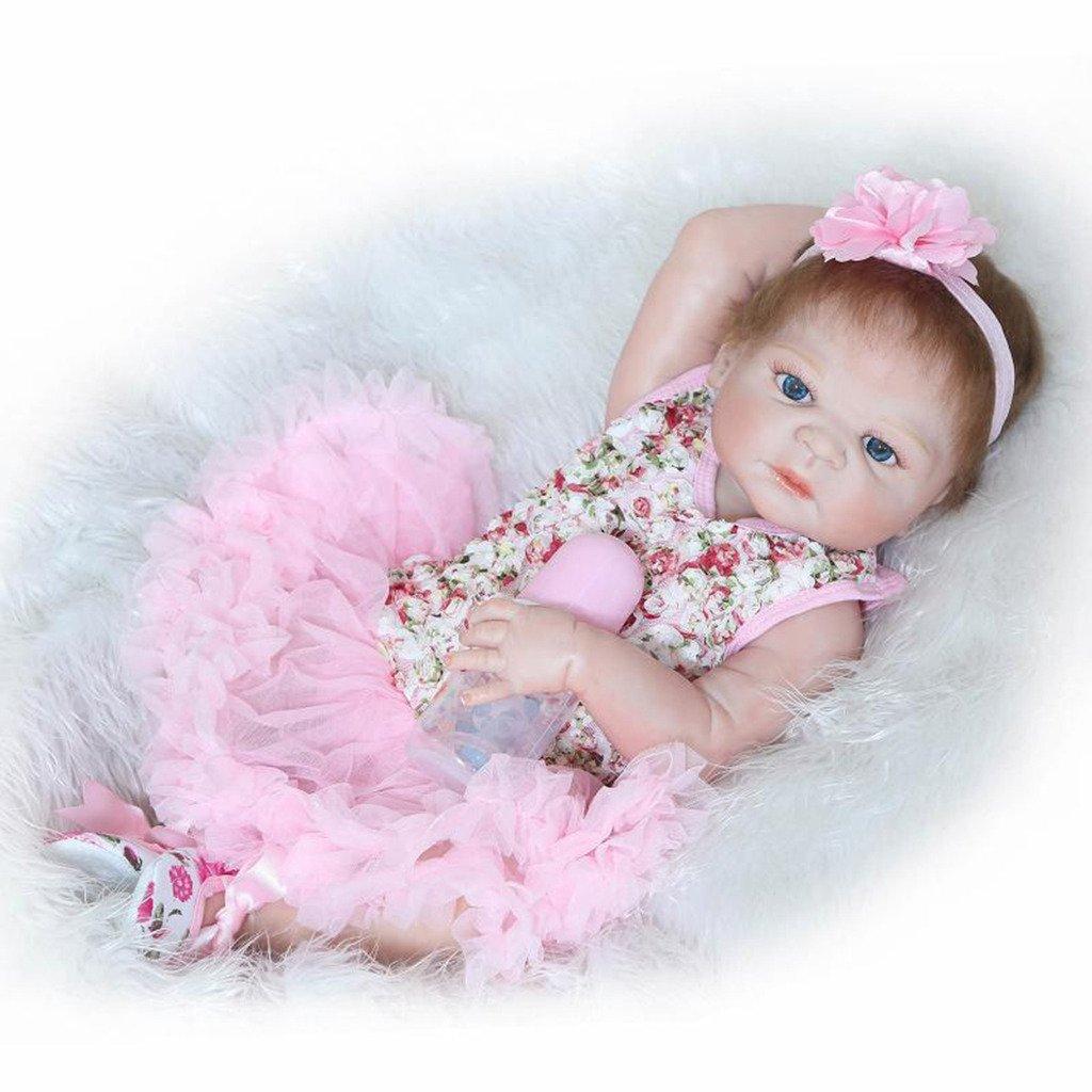 Npkdoll Baby Doll 55,9 cm de haut en vinyle 50–55 cm de vos vêtements Cute Girl avec de jolies Yeux ouverts Couverture Chapeau tétine aimantée toucher confortable 55Z-17GES