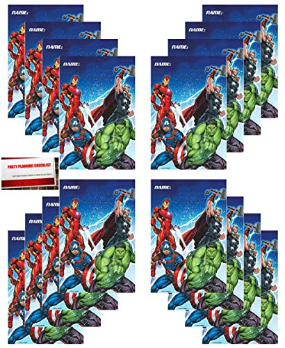 Marvel Epic Avengers 16 Pack Party Plastic Loot Treat Candy Favor Bags (Plus Party Planning Checklist by Mikes Super Store) -
