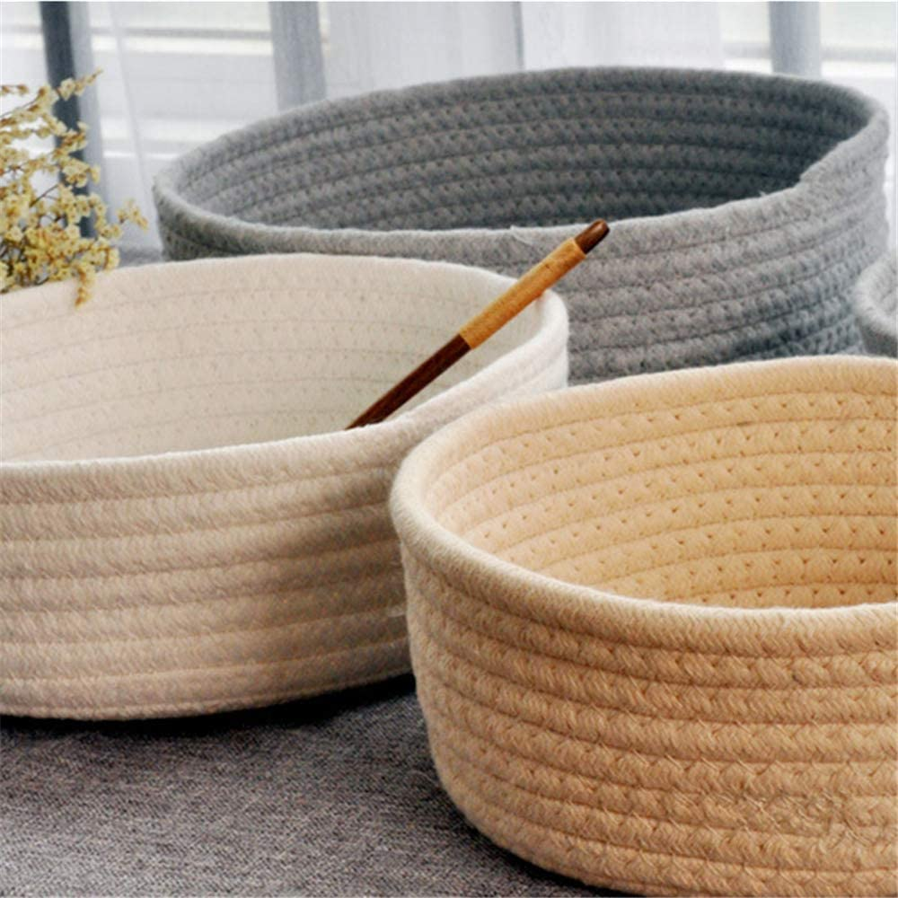 Esoes Large and small Cotton Rope Storage Basket foldable Cotton Thread Woven Basket Baby Laundry Basket Blanket Basket Toy Organizer for Nursery Floor Home Decor