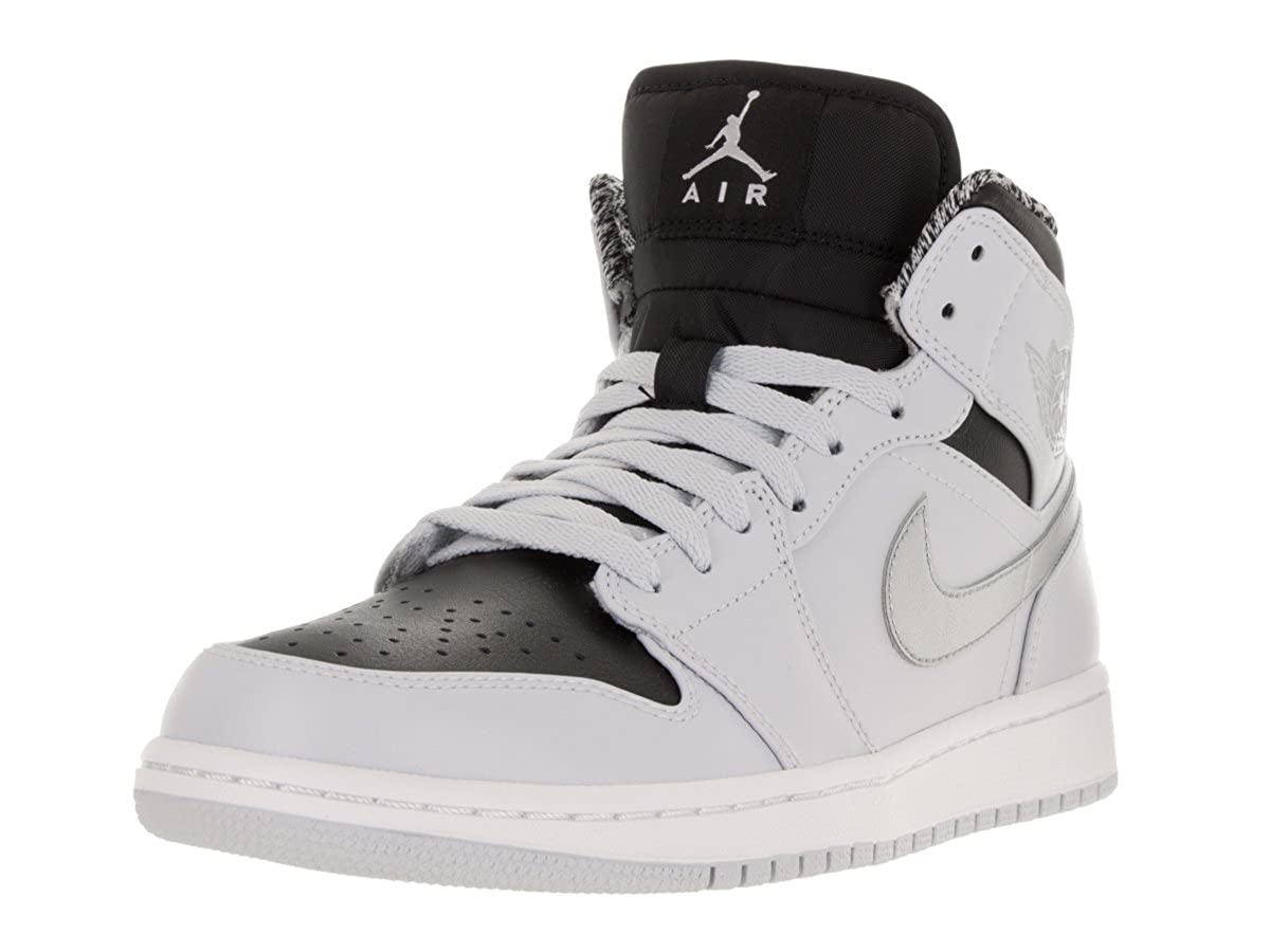627f92a55a Nike Air Jordan 1 MID Sneaker Light Gray/Black/Silver/White, EU Shoe  Size:EUR 45.5, Color:Light Grey