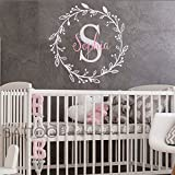 BATTOO Monogram Name Decal - Nursery Wall Decals Sticker - Wall Decal for Girls - Monogram Wreaths - Name Decal - Initial Wall Decal Flower Damask Vinyl Wall Art(slate gray+soft pink, 16''x16'')