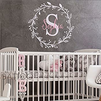 BATTOO Monogram Name Decal   Nursery Wall Decals Sticker   Wall Decal For  Girls   Monogram Part 96