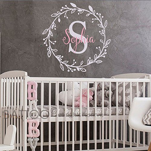 BATTOO Monogram Name Decal - Nursery Wall Decals Sticker - Wall Decal for Girls - Monogram Wreaths - Name Decal - Initial Wall Decal Flower Damask Vinyl Wall Art(slate gray+soft pink, 22