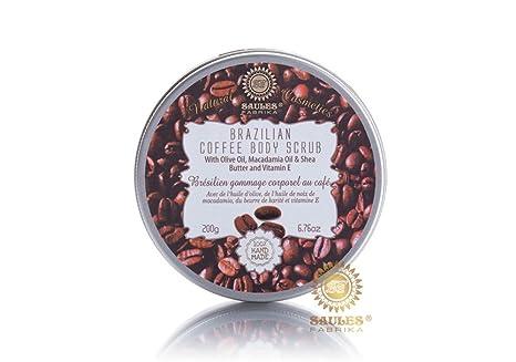 Café exfoliante – 100% Natural cosmético con aceite de oliva, Café, Macadamia de