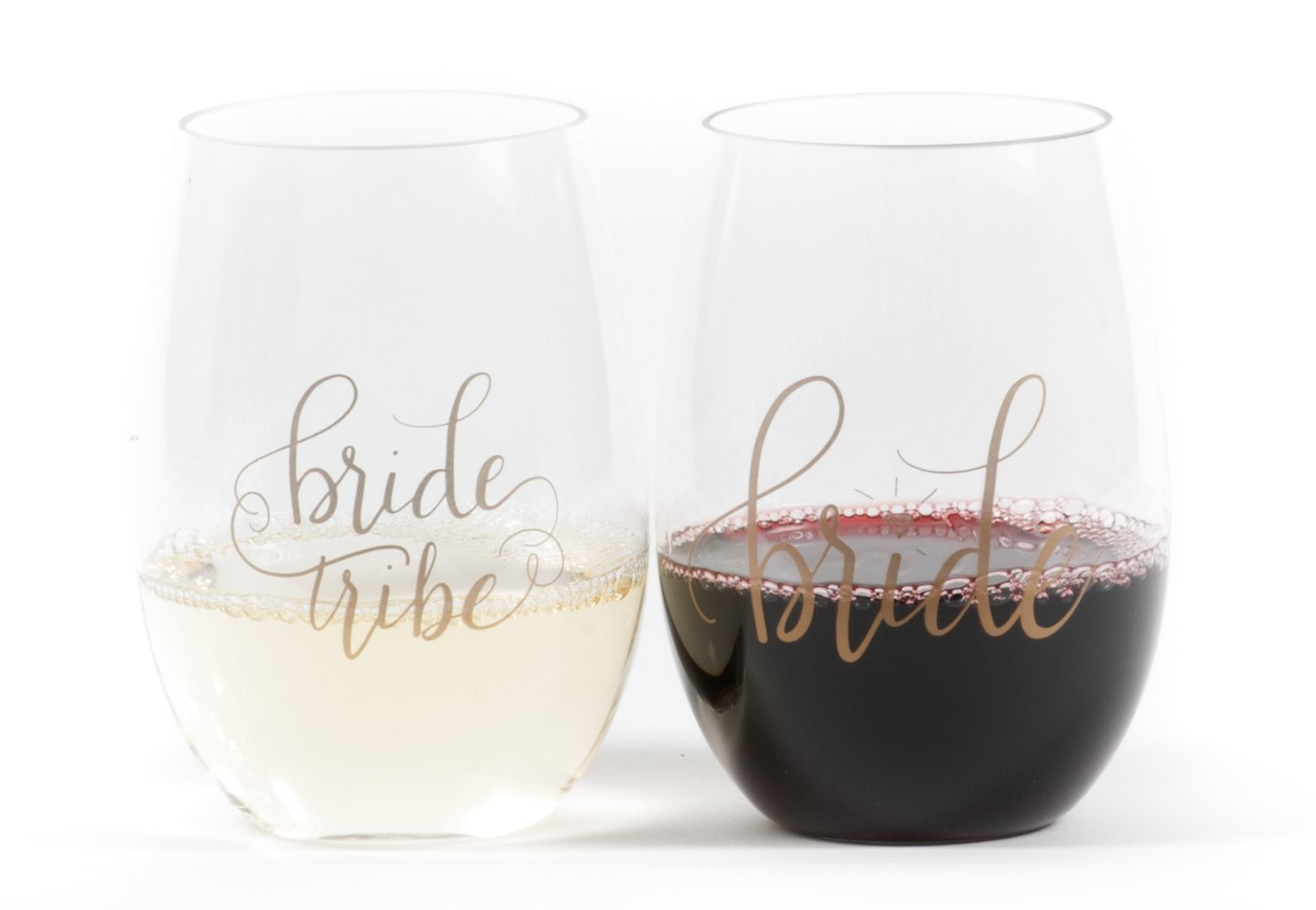 Bride Tribe Durable Plastic Stemless Wine Glasses for Bachelorette Parties, Weddings and Bridal Showers (8 PIECES)