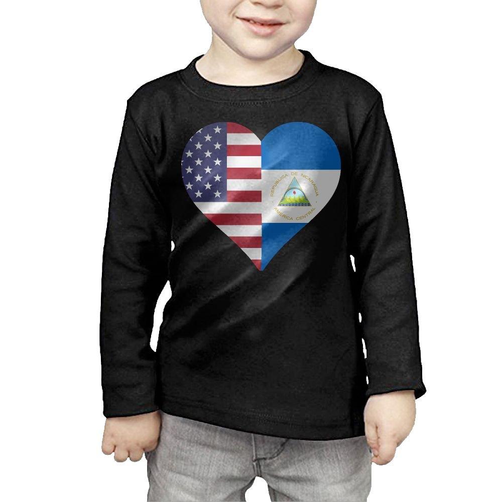 Little Boys Half Nicaragua Flag Half USA Flag Love Heart ComfortSoft Long Sleeve T-Shirt