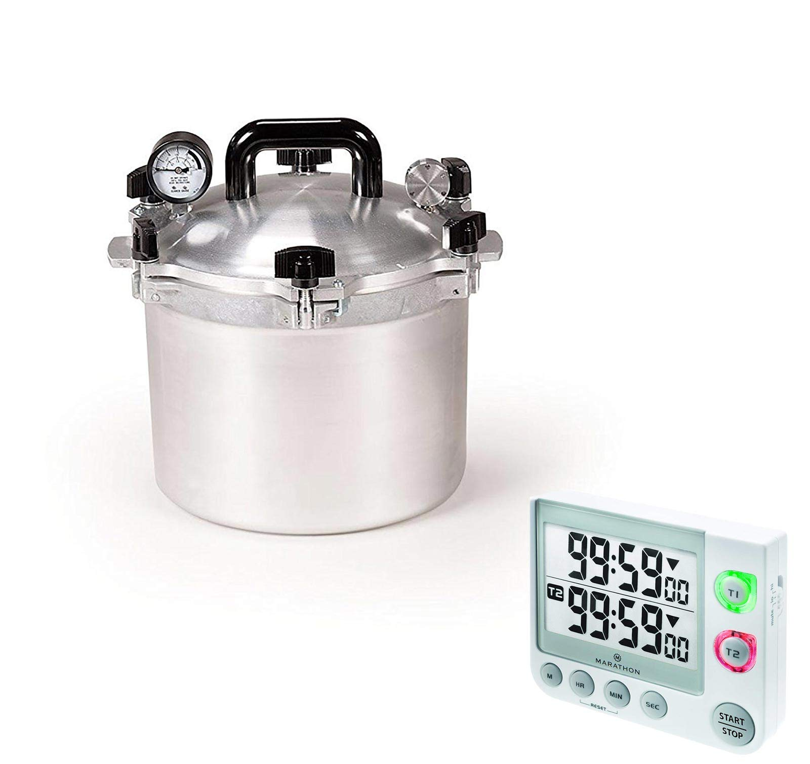 All American Precision Machined Pressure Cooker/Canner Bundle with Marathon TI030017WH Large Display 100 Hour Timer - (White) 10.5 QT