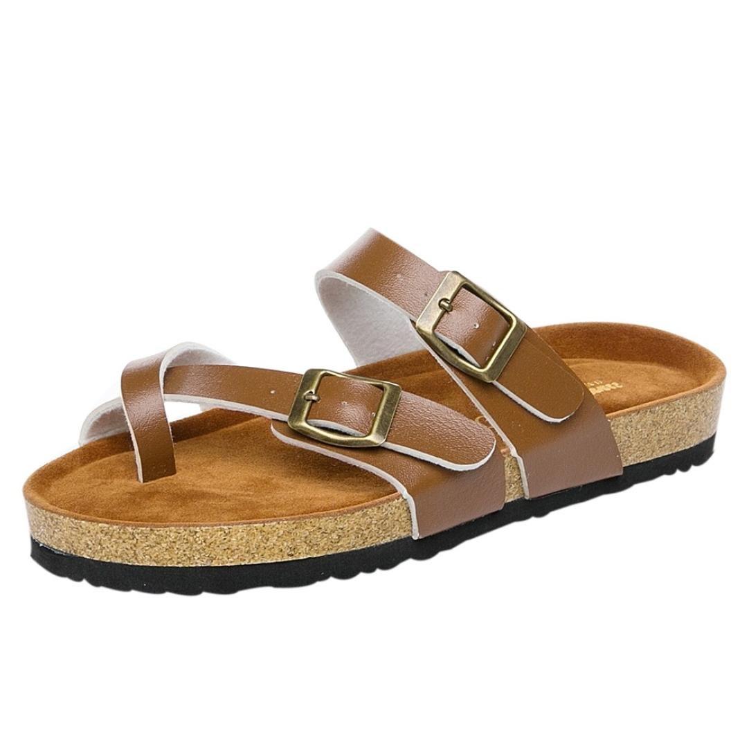 Cinnamou Sandalias Planas 2018 con Dedos Separados Zapatos De Moda Chanclas De Playa Calzado Mujer Verano de Piel