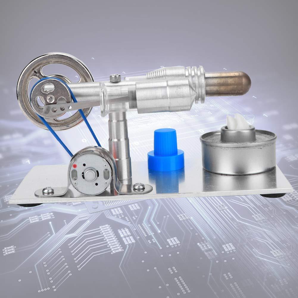 1700 U//min Praktischer silberner Mini-Dampfmotor Modell T-Form-Hei/ßluft-Stirlingmotor-Mikro-Generator f/ür LED-Beleuchtung mit Strom Stirlingmotor-Generator