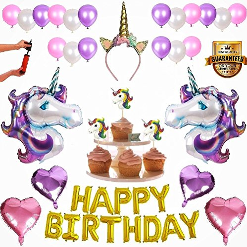 Zmul Magical Unicorn Party Supplies Birthday Decorations Set for Girls - Pastel Unicorn foil & Latex Balloons with Pump Сupcake Toppers Headband Horn