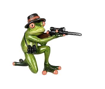 Frosch als Jäger Gewehr Kröte Gecko Lurch Deko Tier Figur