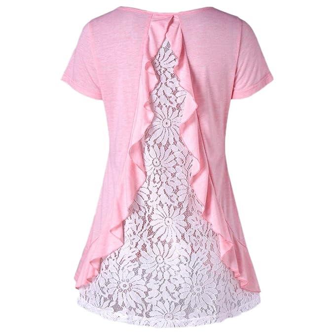 0ee50c8b27a5 friendGG Damen Kurzarm Shirt,Damen Sommer Shirt Kurzarm Baumwoll Bluse Tops  Ladies Basic Shirts Casual