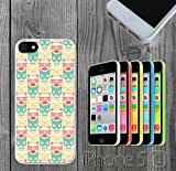 Colorful Mr Cat Pattern Custom made Case/Cover/Skin FOR iPhone 5C Color -White- Rubber Case (Ship From CA)