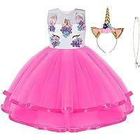 URAQT Disfraz de Unicornio, Vestido de Princesa Unicornio para Niñas, Vestido Elegante con Collar/Diadema para…