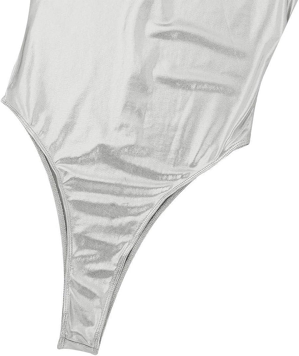 YiZYiF Damen Badeanzug Metallic Bikini Einteiler Splei/ß Body Mesh Monokini Hydrasuit Schwimmanzug mit Rei/ßverschluss