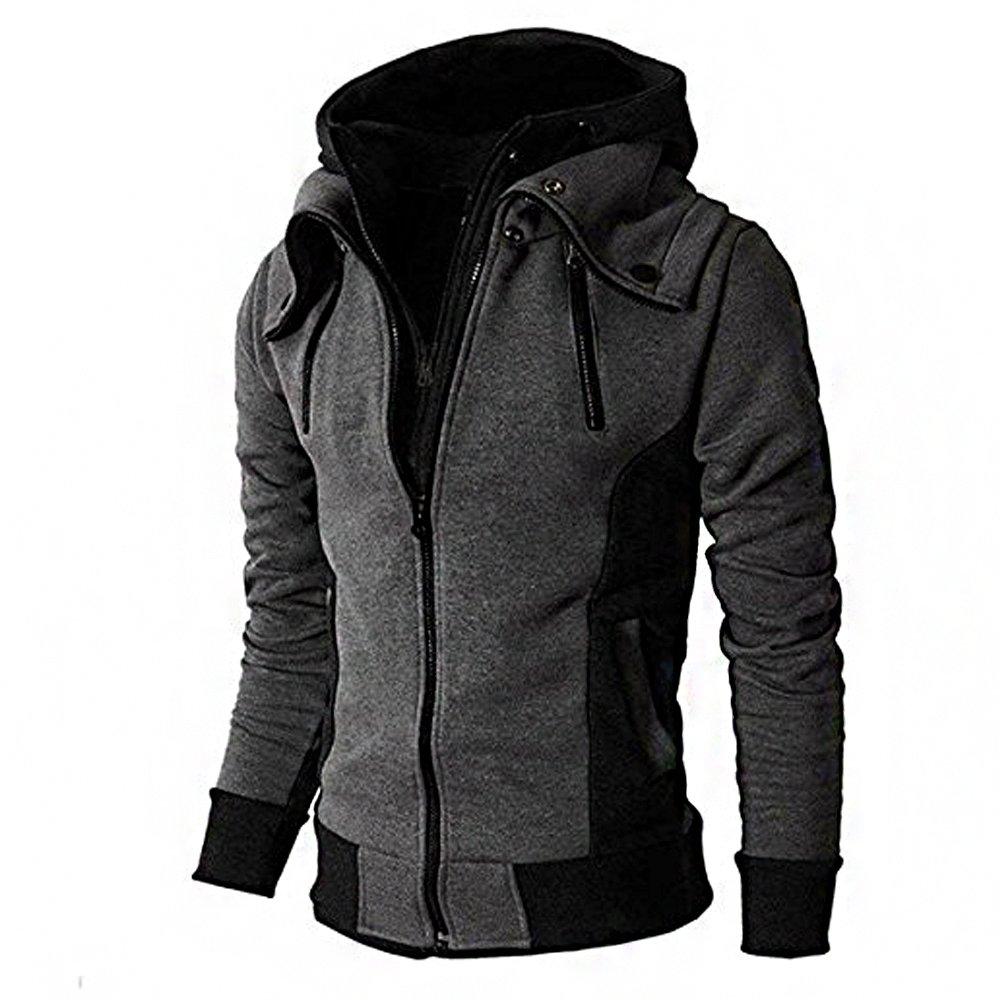 WEEN CHARM Men's Double Zipper Hooded Jacket Turtleneck Fleece Hoodie Coat,Dark Grey,Medium