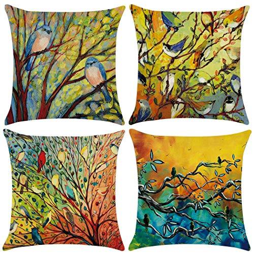 Unibedding Birds Tree Throw Pillow Case, 4 Pack Vivid Birds Print Cushion Pillow Cover Home Sofa Spring Decorative Set, 18 X 18 Inch/45 X 45 cm