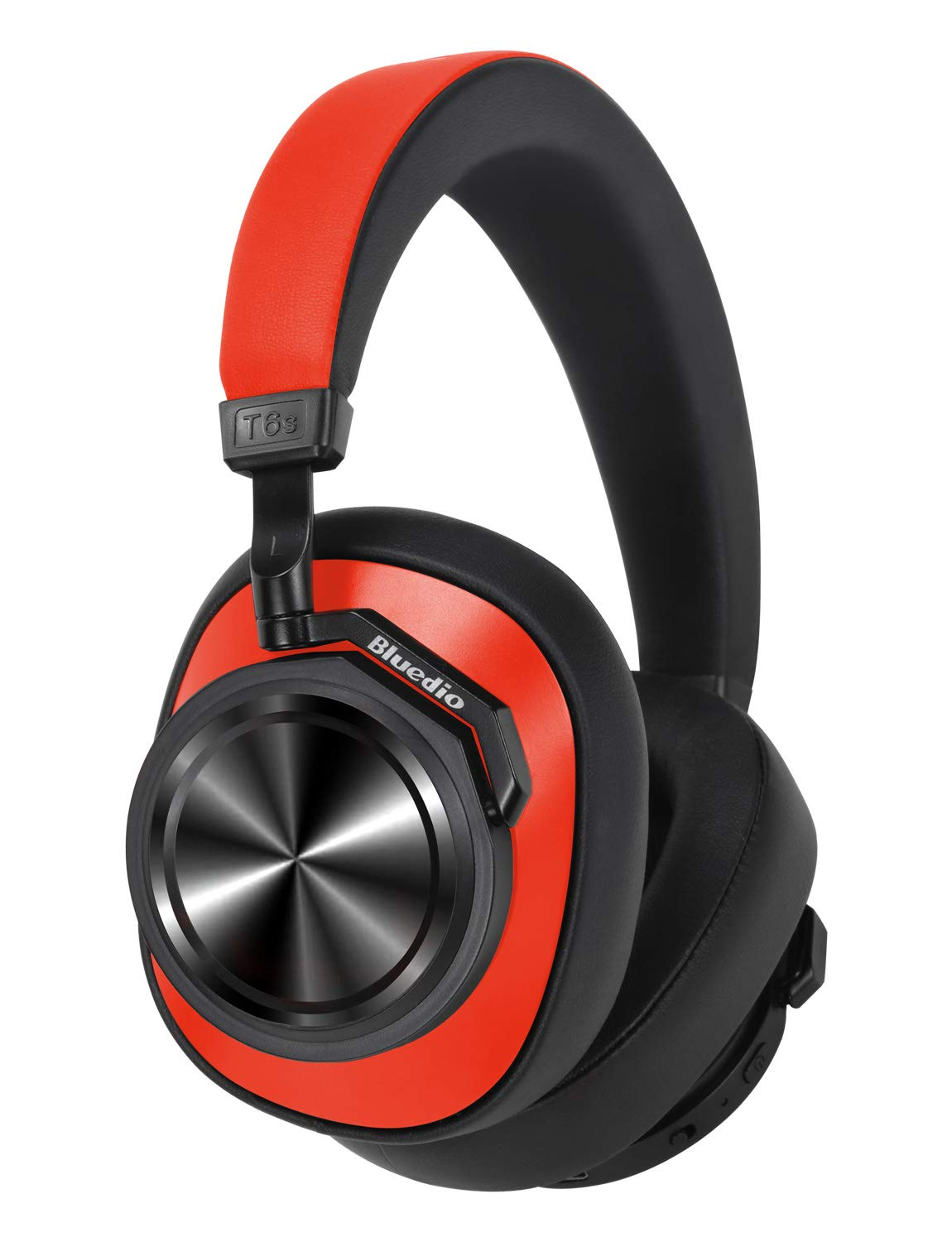 Bluedio T6S Bluetooth Headphones Over Ear with Mic, Active Noise Canceling Headset Voice Control Support Amazon Web Services (AWS), Wireless Headphones for Cell Phone/PC, 32-Hrs Play Time, Red