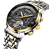 Luxury Automatic Mechanical Watches Men with Silver Stainless Steel Band Black Dial