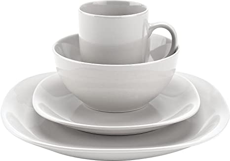 Amazon.com | Thomson Pottery 16-pc. White Quadro Set: Dishes Set ...
