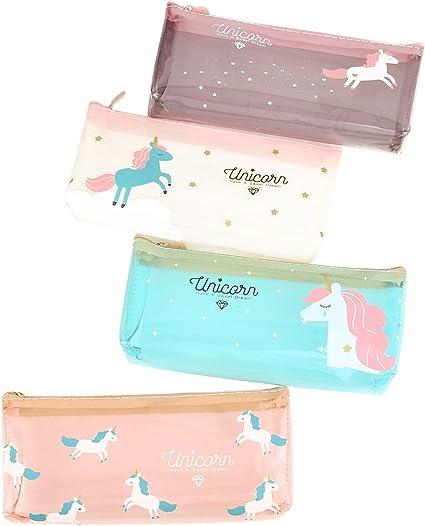 toymy Toy Unicorn estuche Niños transparente estuche Estuche, unicornio cosméticos de maquillaje bolsa, 4 unidades): Amazon.es: Oficina y papelería