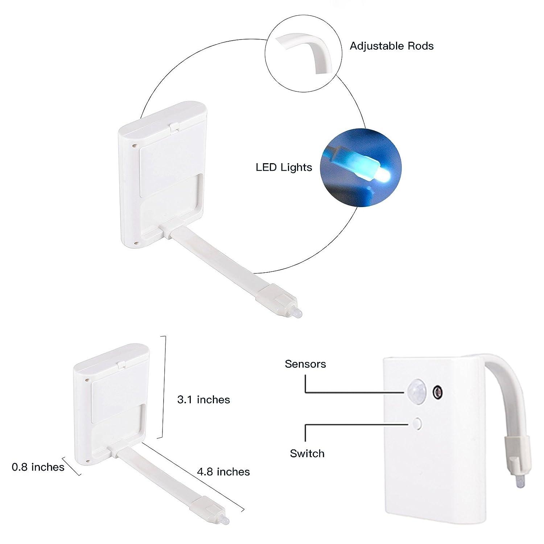 YAOYO LED Auto movimiento activado WC noche luces Sensor Asiento Iluminación Lámpara Cuarto de baño Cuarto de baño operado con batería 8 colores cambiar: ...