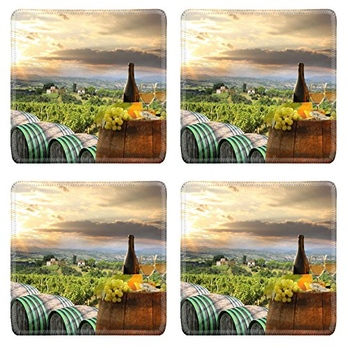 MSD Square Coasters White wine with on vineyard in Chianti Tuscany Italy Image 21803746 by MSD Customized Tablemats Stain Resistance Collector Kit Kitchen Table Top DeskDrink Customized Stain R