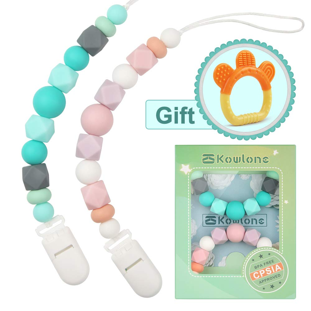 Teething Dummy Clips Pacifier Chain Holder Sensory Toys Soother Chains Binky Holder Set for Girls Boys BPA Free Baby Shower Gifts Teething Pain Relief Silicone Chewable Beads Handmade Gift (BPC002)