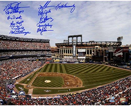 Shea Stadium Citi Field (1986 NY Mets 11 Signature Shea Stadium Photo (w/Citi Field in Background) 16x20 Photo w/ 86 WS Champs insc by Johnson (MLB Auth))