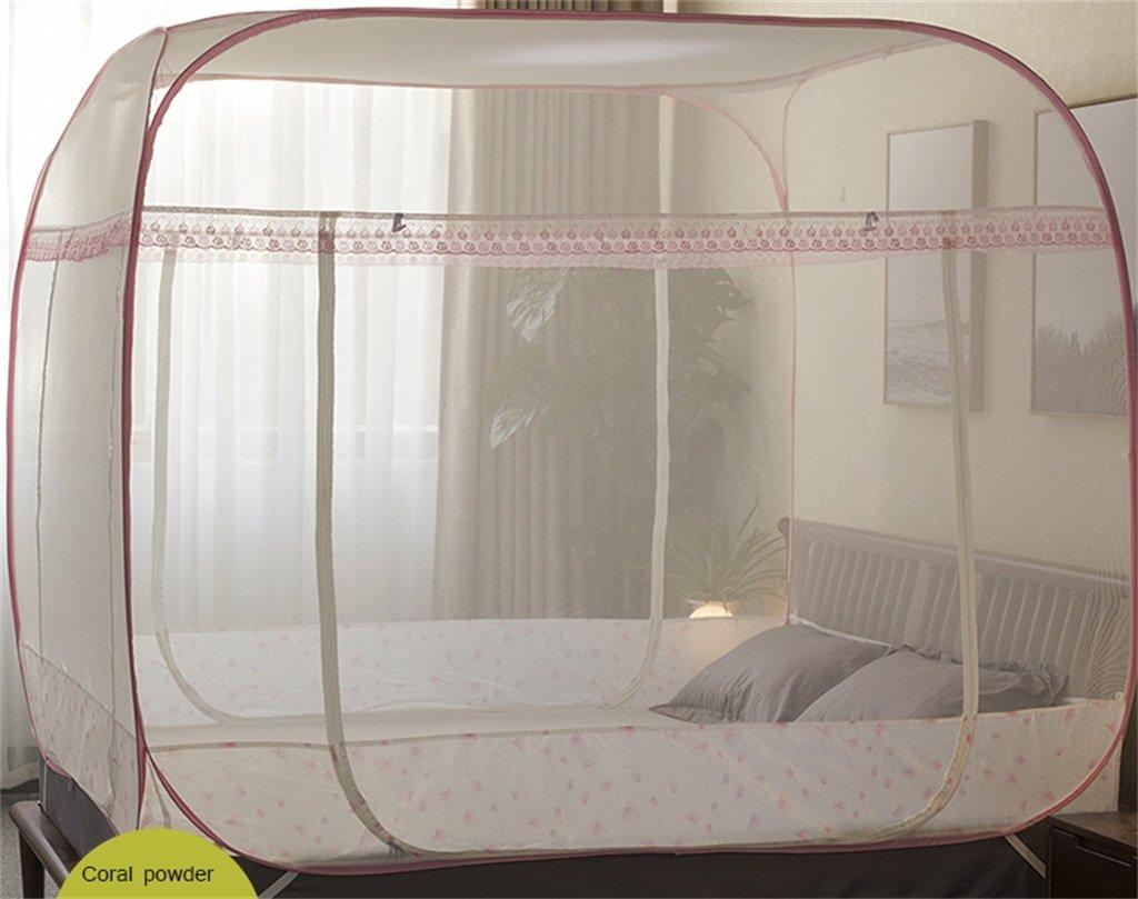 Moskitonetz-Bett-Überdachungs-Zelt-Vorhänge für Betten Schlafzimmer frei zu installieren faltender Reißverschluss-tragbarer Innenkampierender Student im Freien anwenden to1.2 / 1.5 / 1.8 / 2m Bett ( Farbe : B , größe : 2M )