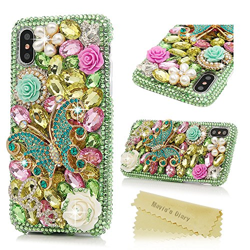 (iPhone X Case, iPhone Xs Case, Mavis's Diary Full Edge Protective Plastic Case, 3D Handmade Crystal Clear Bling Green Diamonds Shiny Colorful Rhinestone Floral Butterfly Pearl Hard PC Cover)