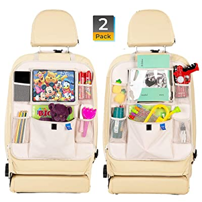 Car Backseat Organizer -Kick Mats Seat Protector with Tablet Holder Premium 600D Polyester Fabric and Multi Pocket for Large Storage -Universal fit Travel Accessories for Kids 2 Pack Beige : Baby