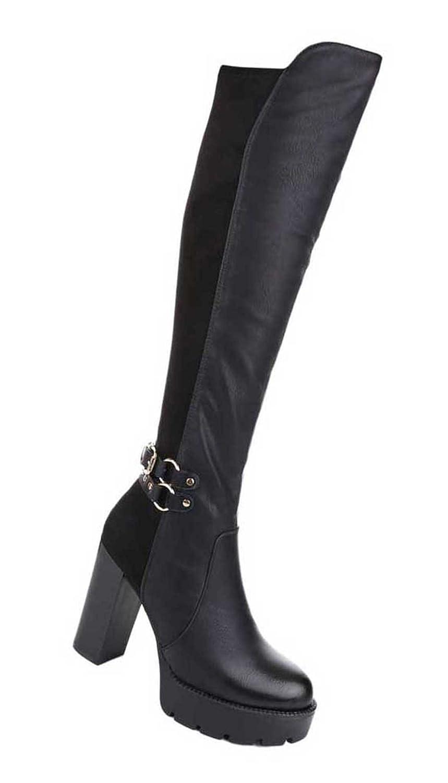 Damen Overknee Stiefel Schuhe Mit Reißverschluss Schwarz 36 37 38 39 40 41