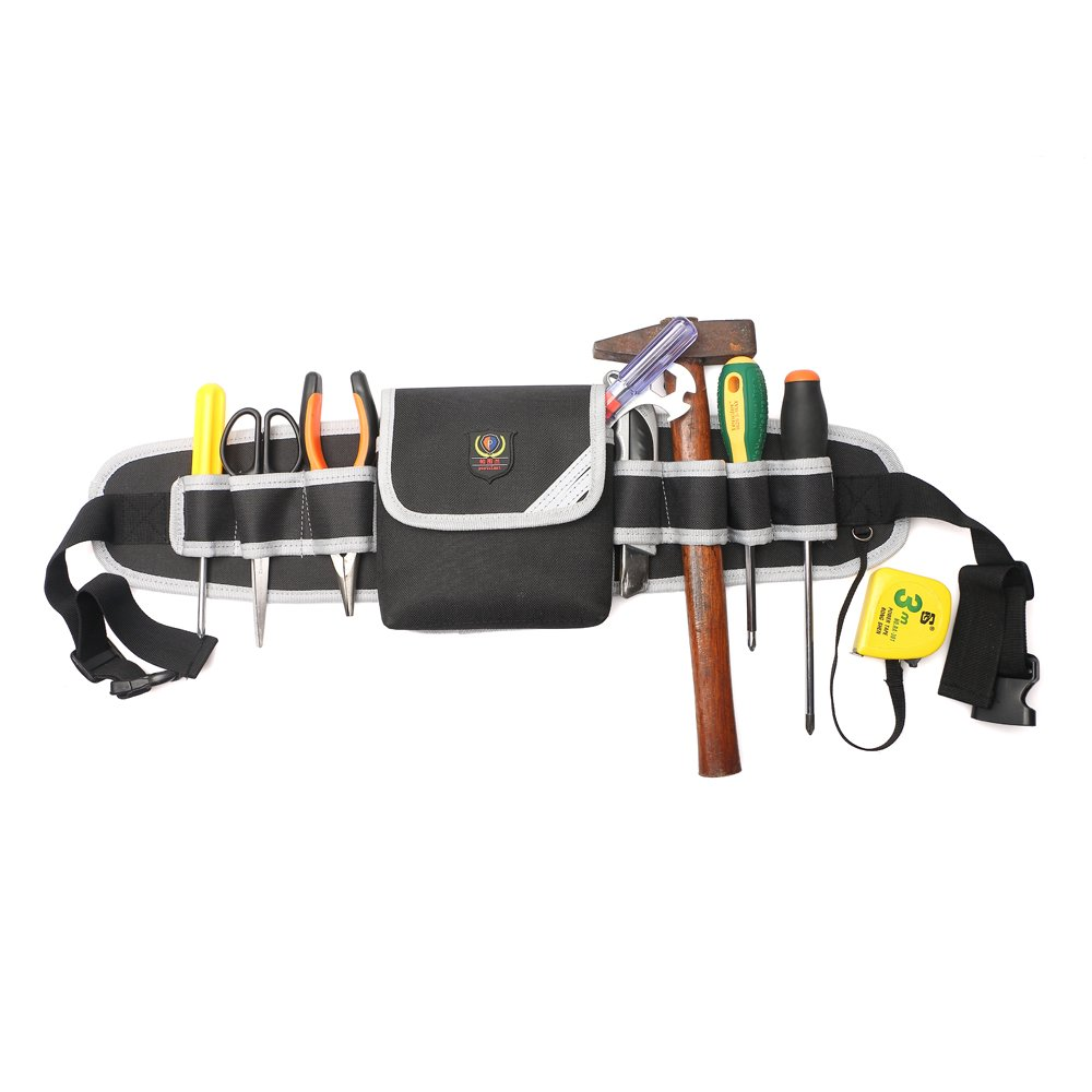Electricians Tool Belt Pouch Adjustable Waist Bag Waterproof Durable Multi-functional for Screwdriver Tool Holder Rack (Gray)