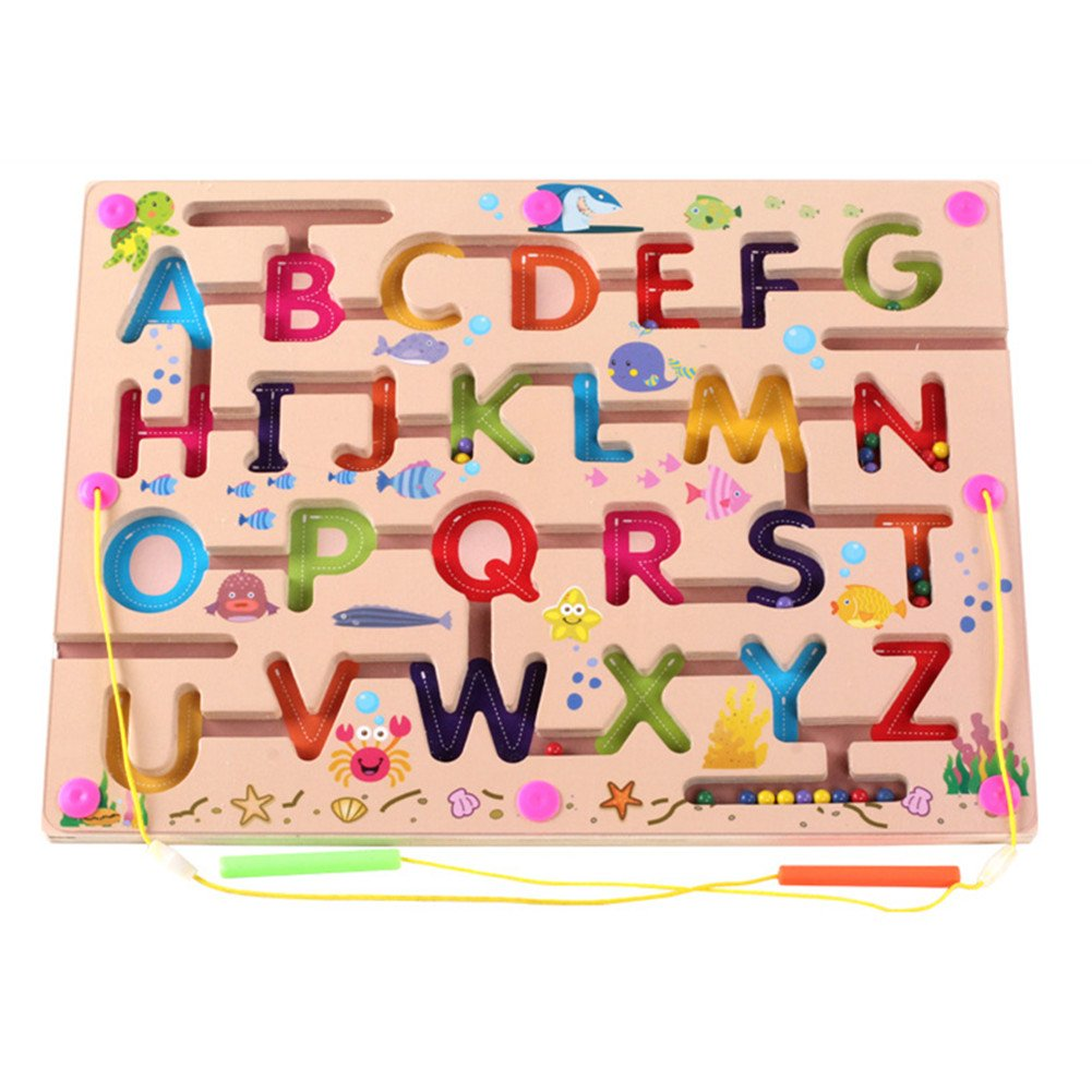 O-Toys Kids Maze Wooden Puzzle Activity Magnet Toys Beads Board Game Play Set for Boys Girls Learning Education Toy with Magnetic Wand for Toddlers Infants Preschool Children ABC Letter Words