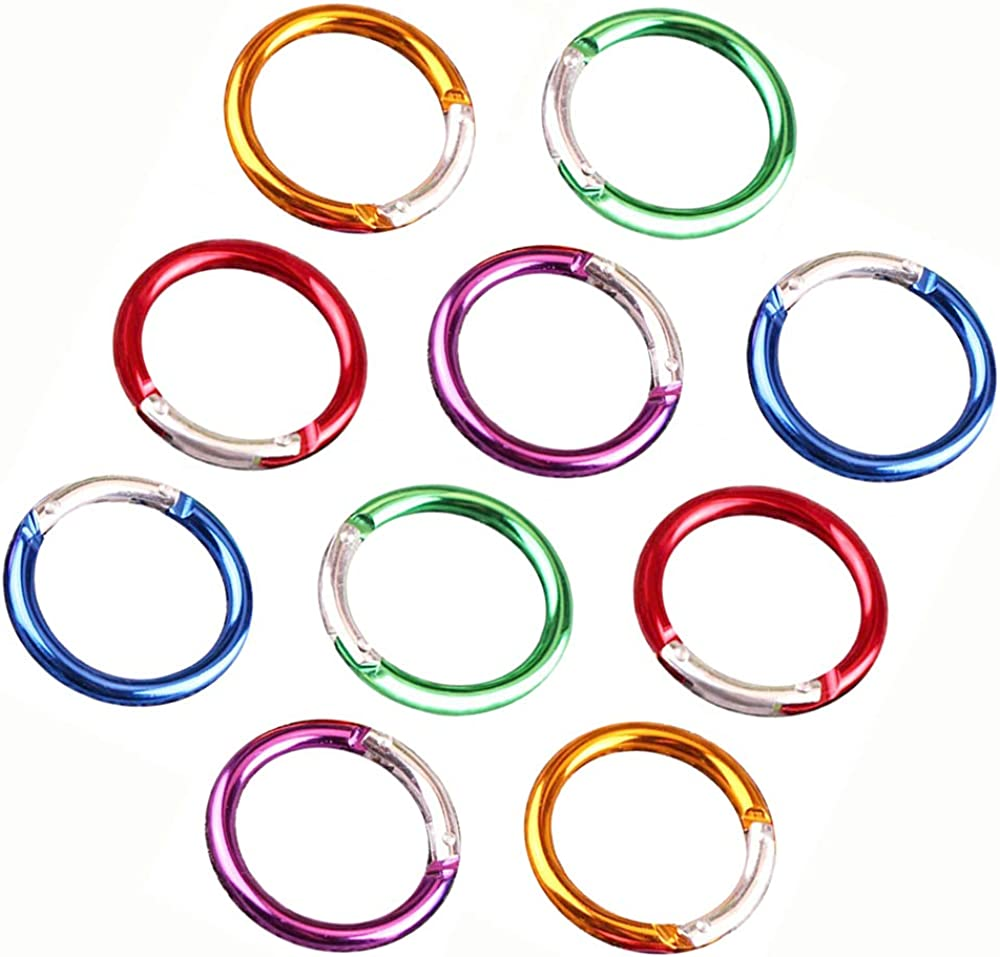 30mm Random Ceqiny 10pcs Alloy Spring Ring Round Carabiner Snap Clip Trigger Spring Keyring Buckle DIY Organizing Accessory for Handbag Purse Shoulder Strap Key Keychain Camping Backpack Carabiner