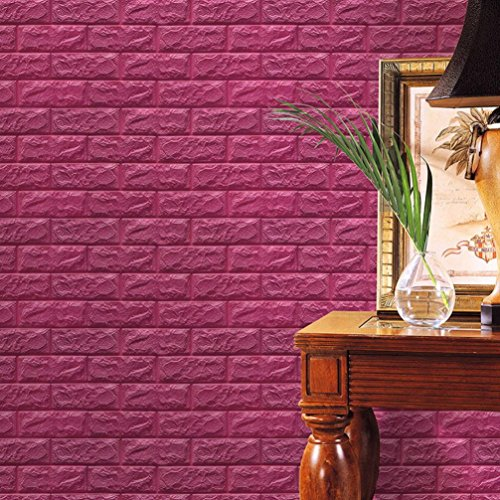 HOT SALE!Napoo PE Foam 3D Wallpaper DIY Wall Stickers Wall Decor Embossed Brick Stone For Household Room Kitchen Bathroom 60 X 60 X 0.8cm(Red wine) ()